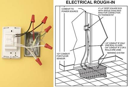 wiring an electric floor heating system electrical online rh electrical online com Electric Heat Thermostat Wiring Electric Heat Thermostat Wiring