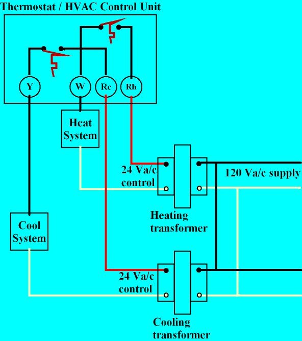 Thermostat heat and cool 2 transformers thermostat wiring explained heating and air conditioning wiring diagrams at crackthecode.co
