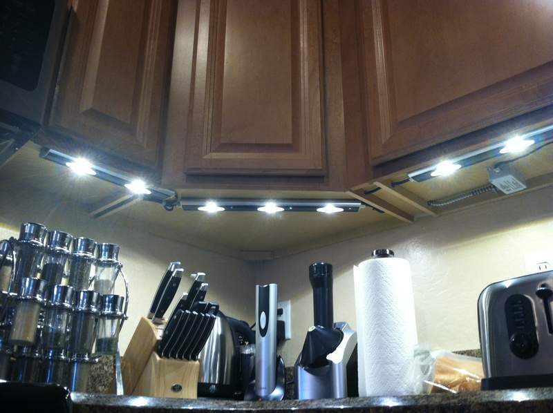 Looking up at the installed under cabinet lighting