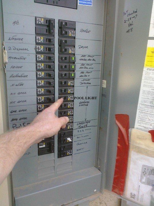 Shutting off breaker for a pool light
